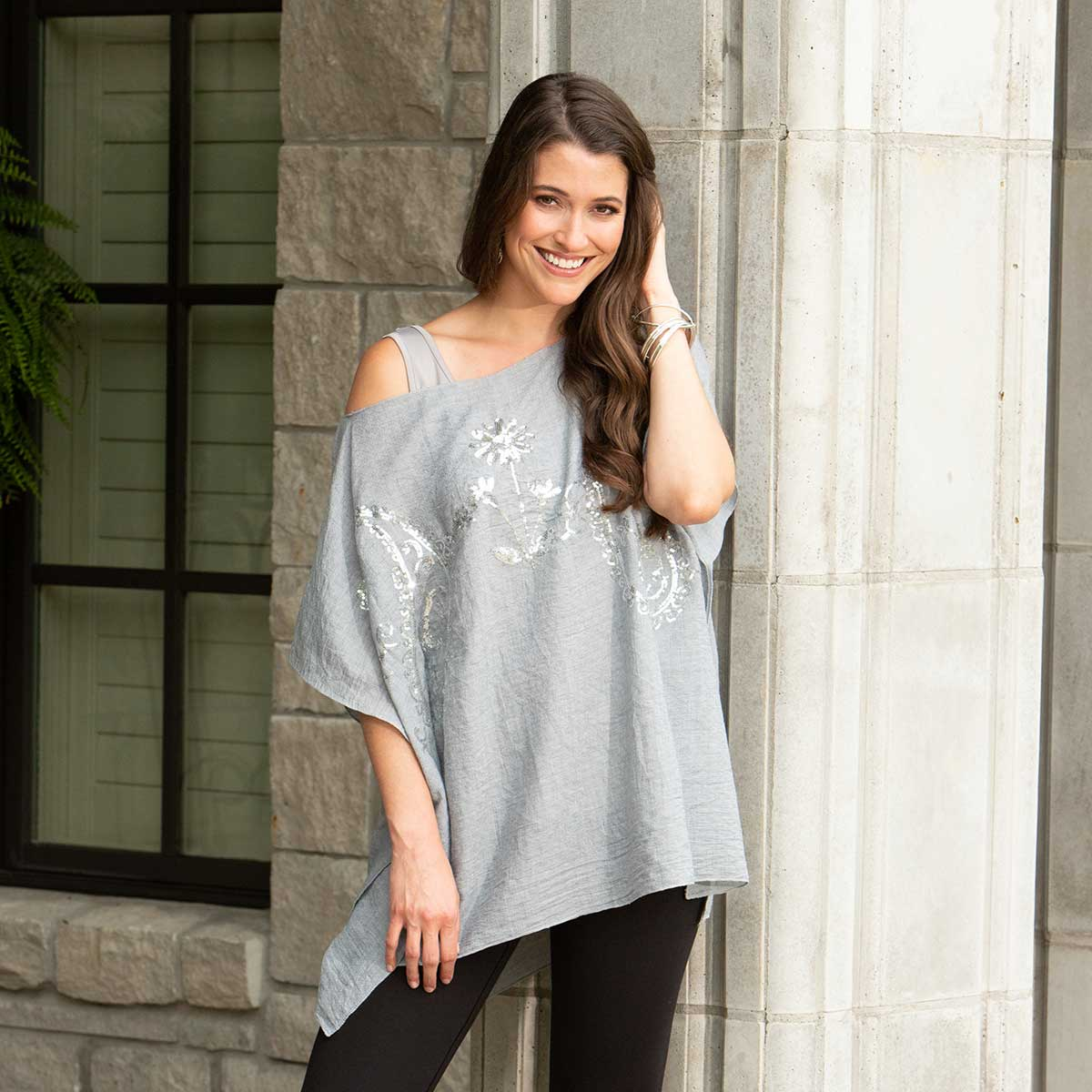 "Grey Tunic with Silver Sequins 34""x28"""