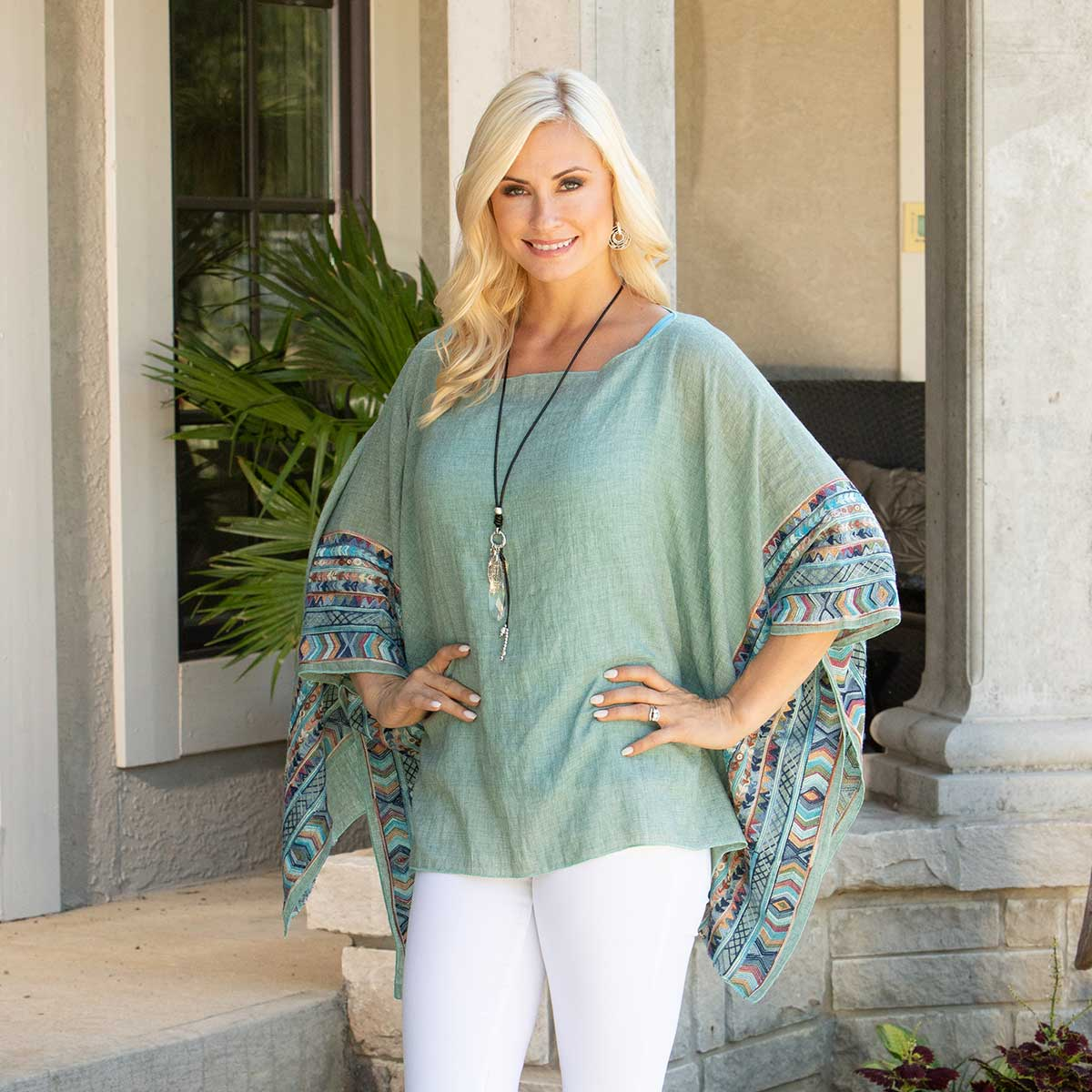 "Green Tunic with Embroidered Trim 50""x26"""