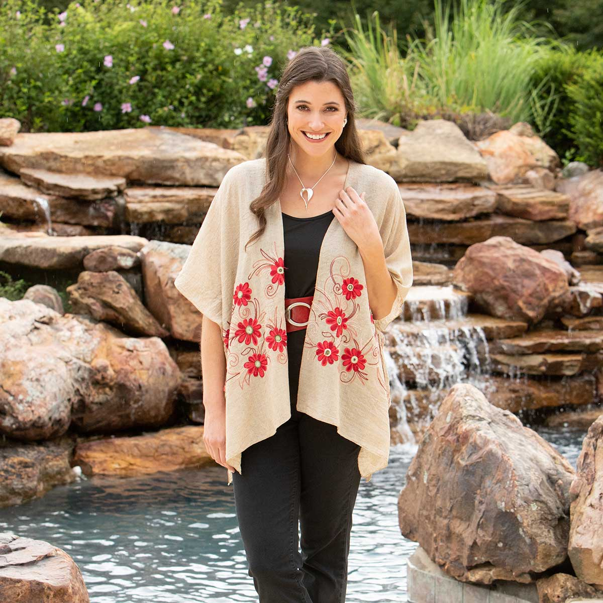 "Tan Vest with Red Flowers 34""x28"""