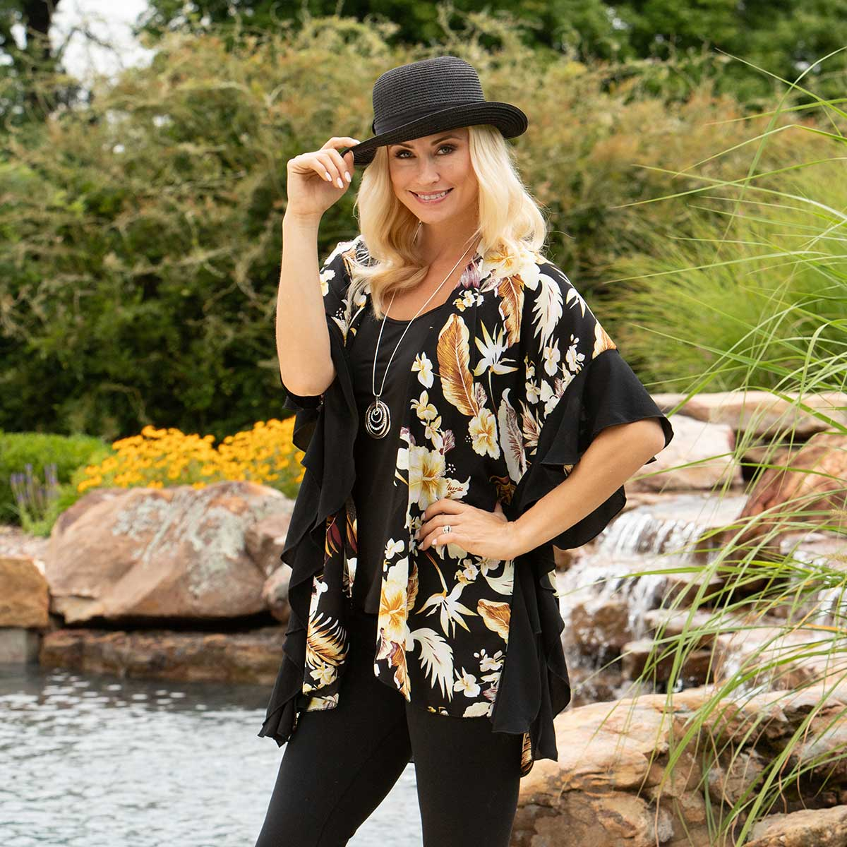 "Yellow/Cream Tropical Hibiscus Vest with Black Ruffle 27""x34"""