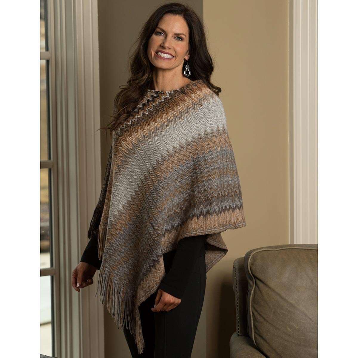 Brown and Grey Zigzag Poncho with Fringe