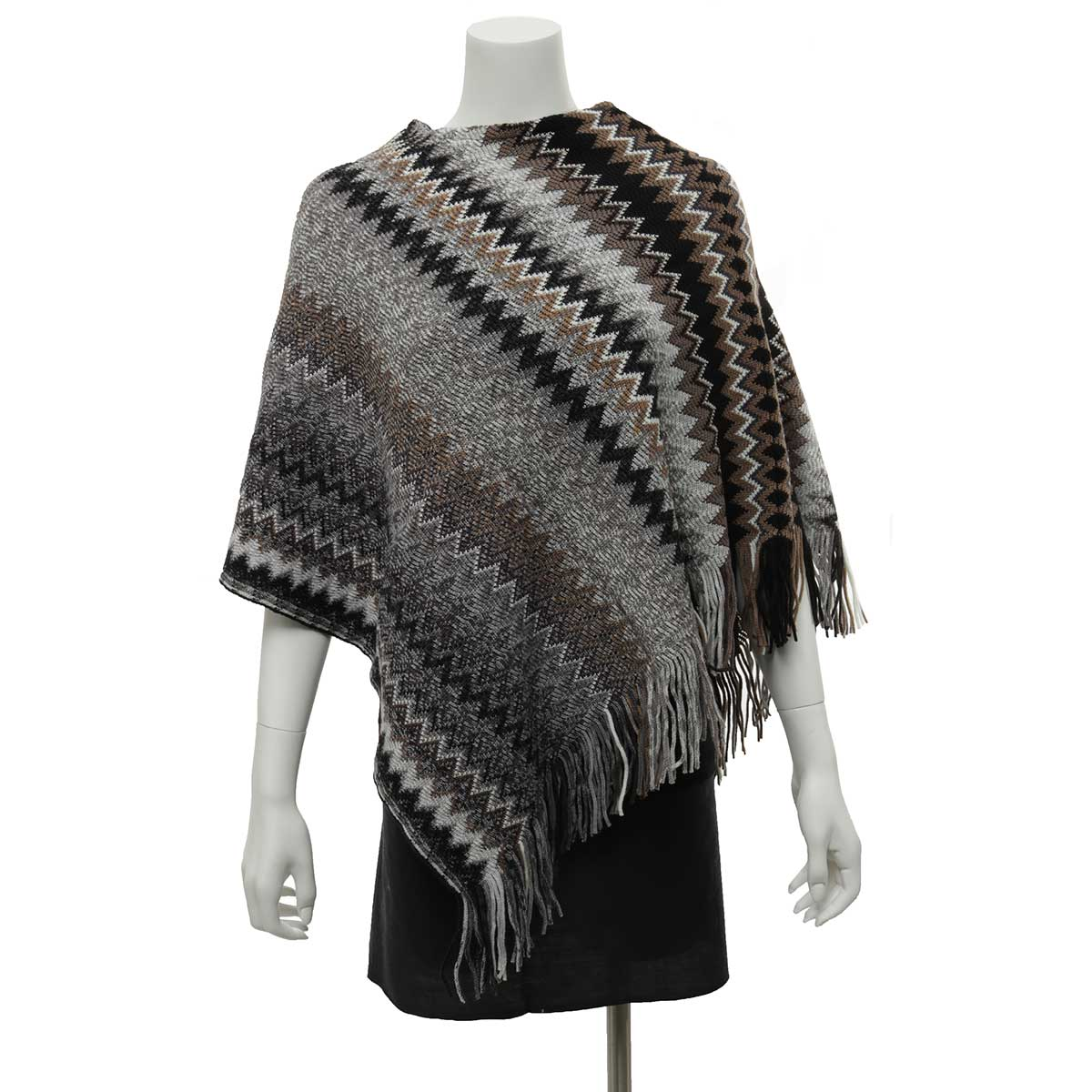 Grey, Black and Brown Zigzag Poncho with Fringe