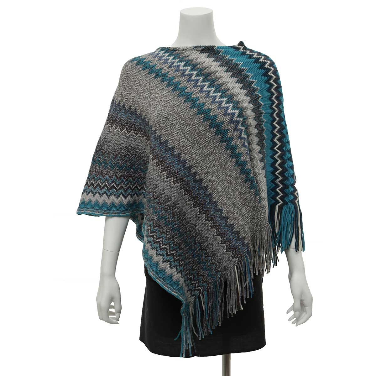 Teal and Grey Zigzag Poncho with Fringe