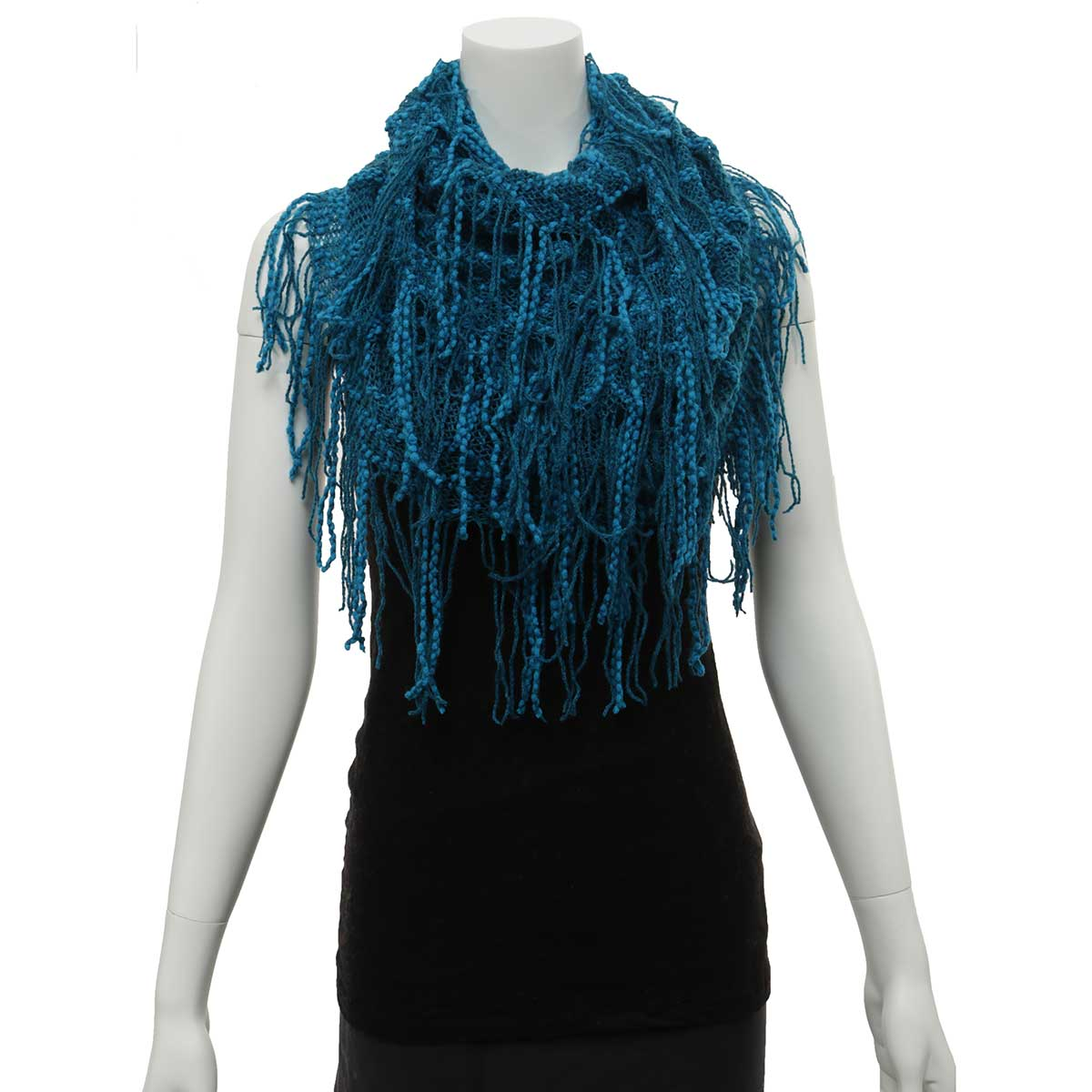 Teal and Blue Infinity Scarf with Fringe