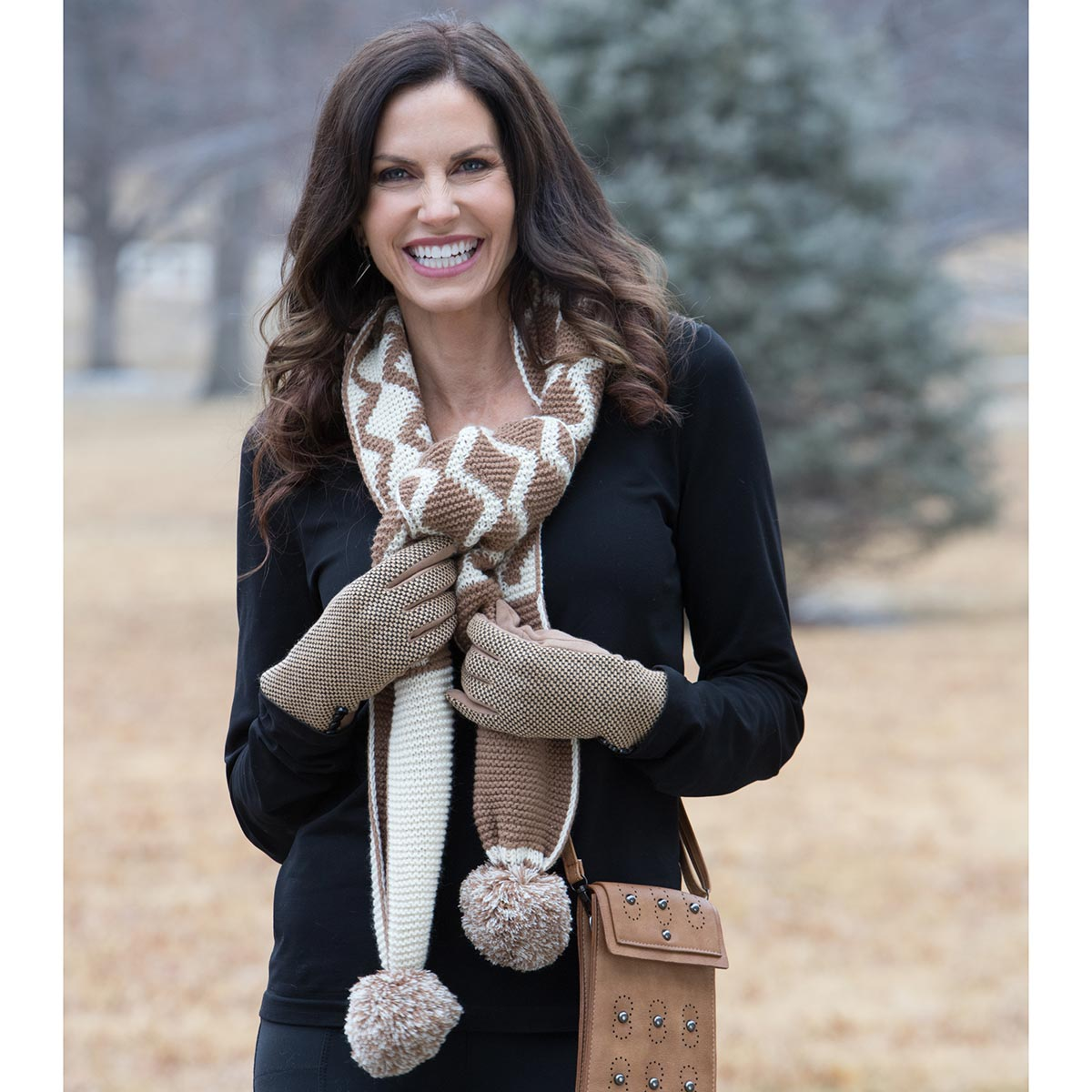 Tan and Cream Pom-Pom Scarf