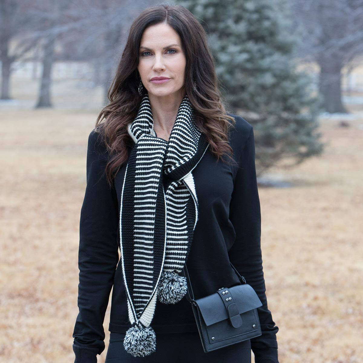 Black and Cream Stripe Pom-Pom Scarf