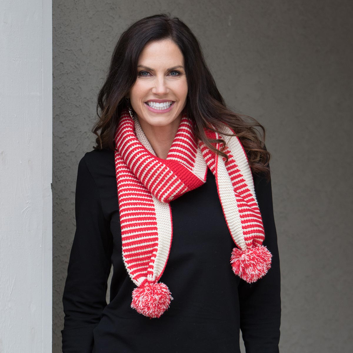 Red and Cream Stripe Pom-Pom Scarf