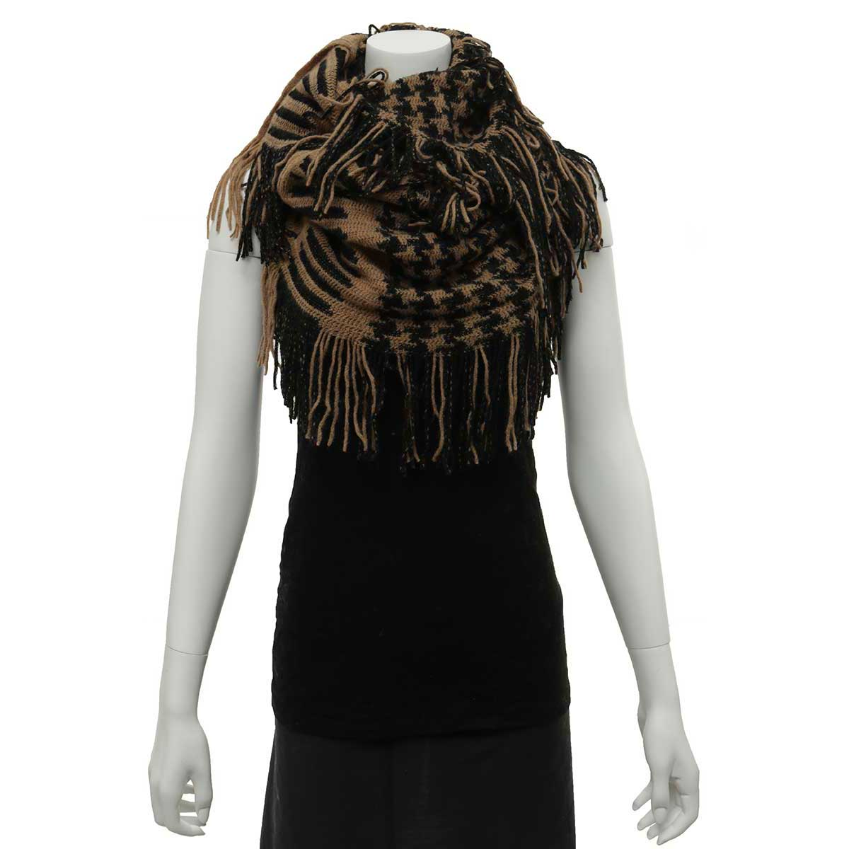 Black and Tan Herringbone Infinity Scarf with Fringe