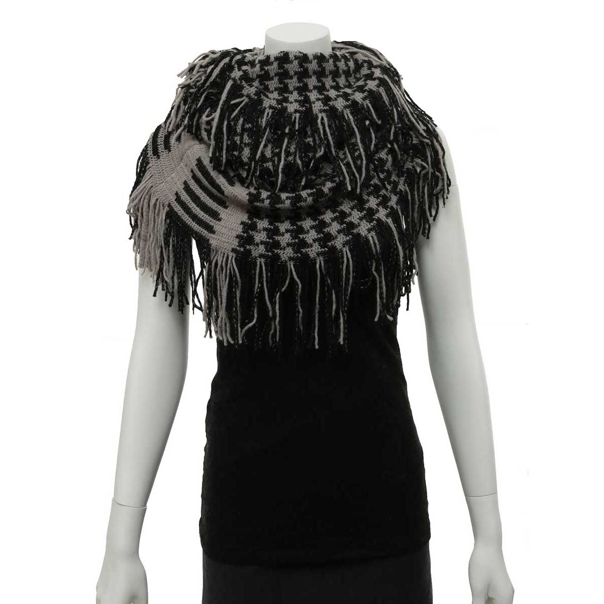 Black and Grey Herringbone Infinity Scarf with Fringe