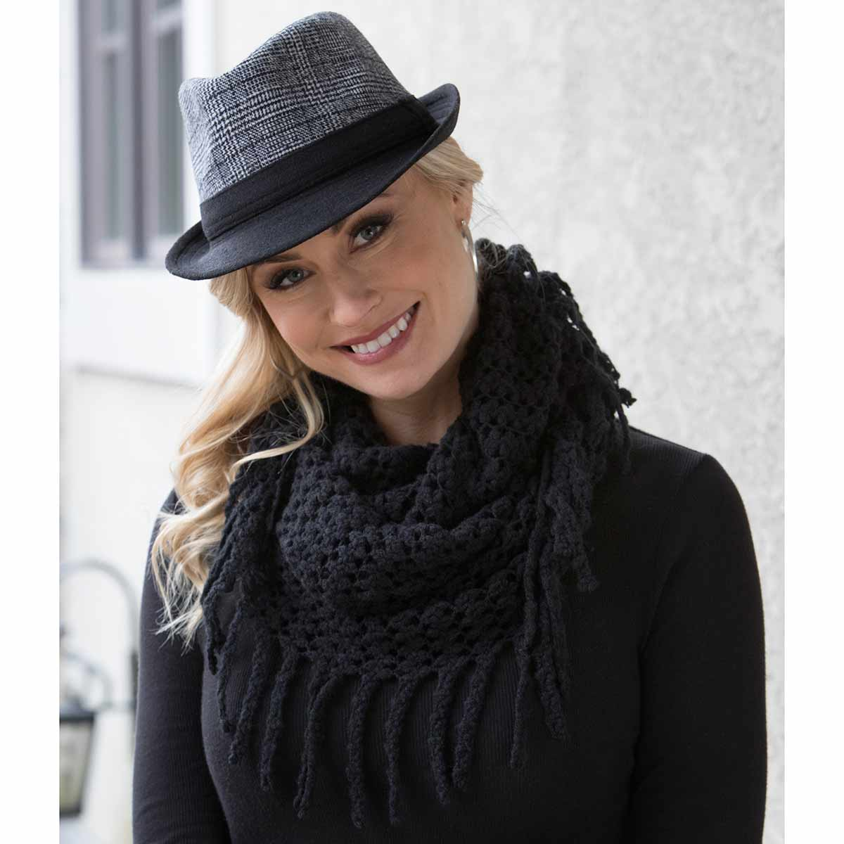 Black Infinity Scarf with Fringe