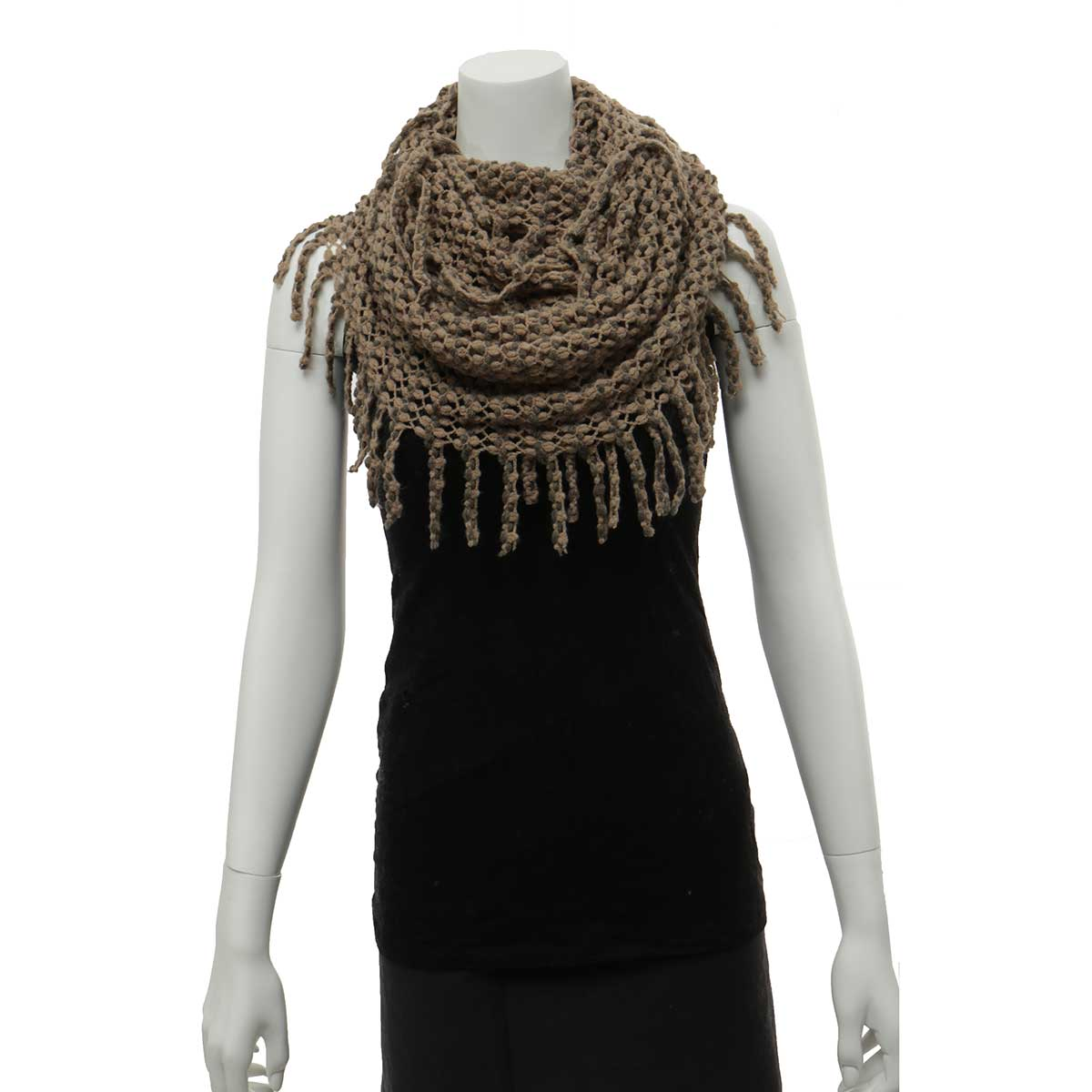 Brown and Taupe Infinity Scarf with Fringe