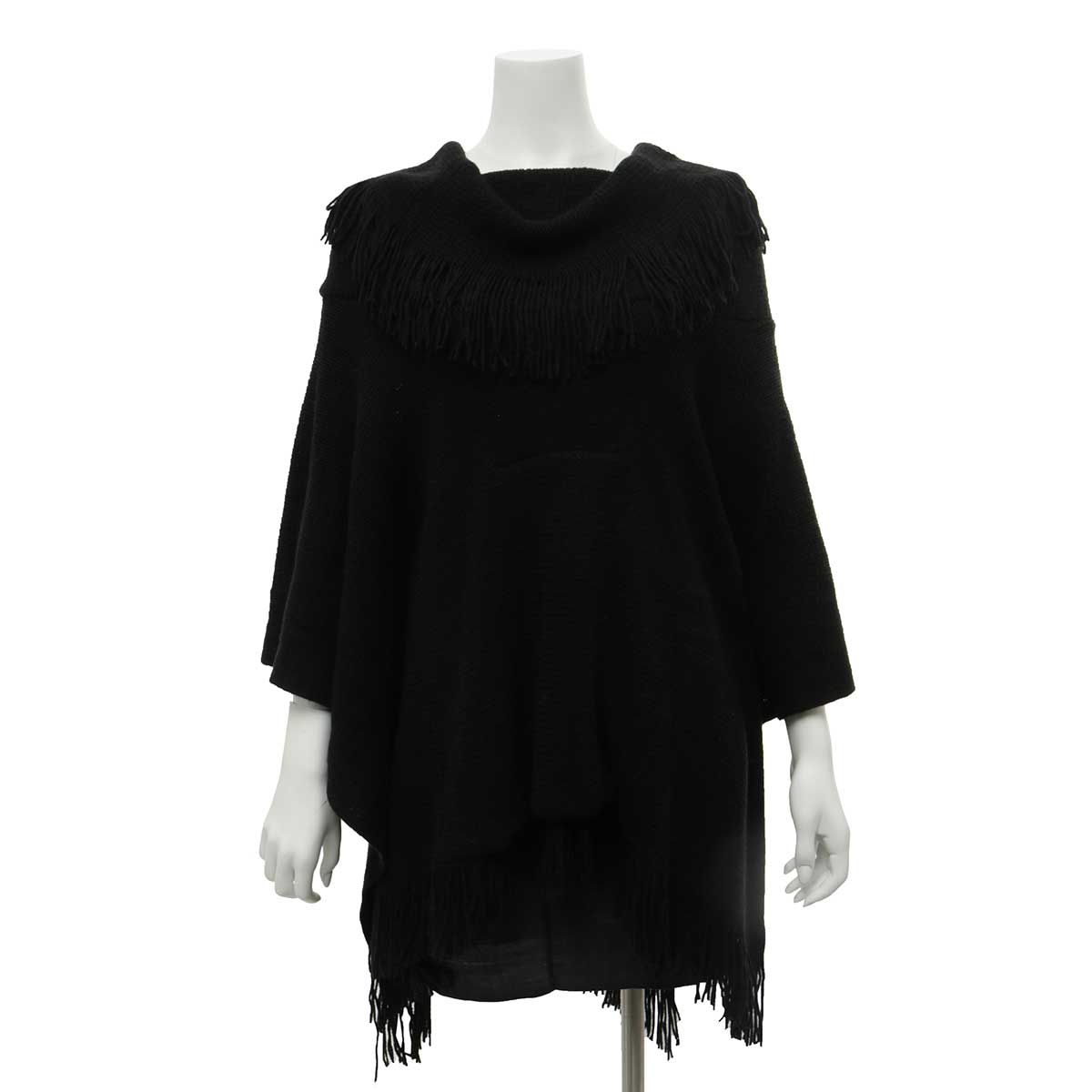 Black Poncho with Pouch and Fringe