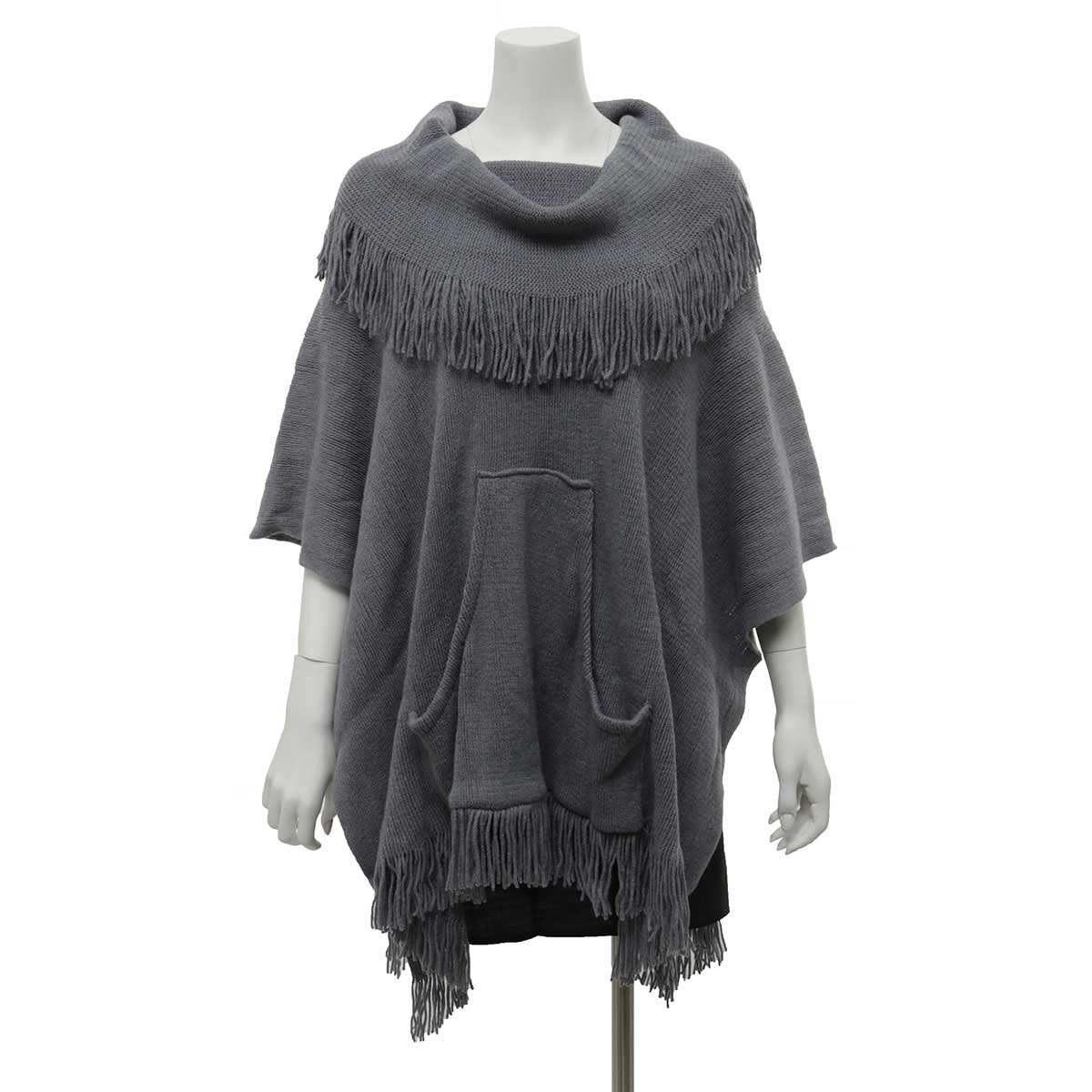 Grey Poncho with Pouch and Fringe