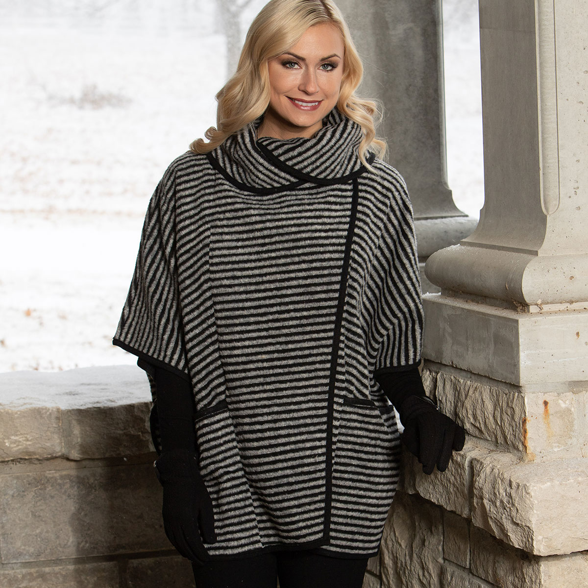 Black/Grey Striped Cape