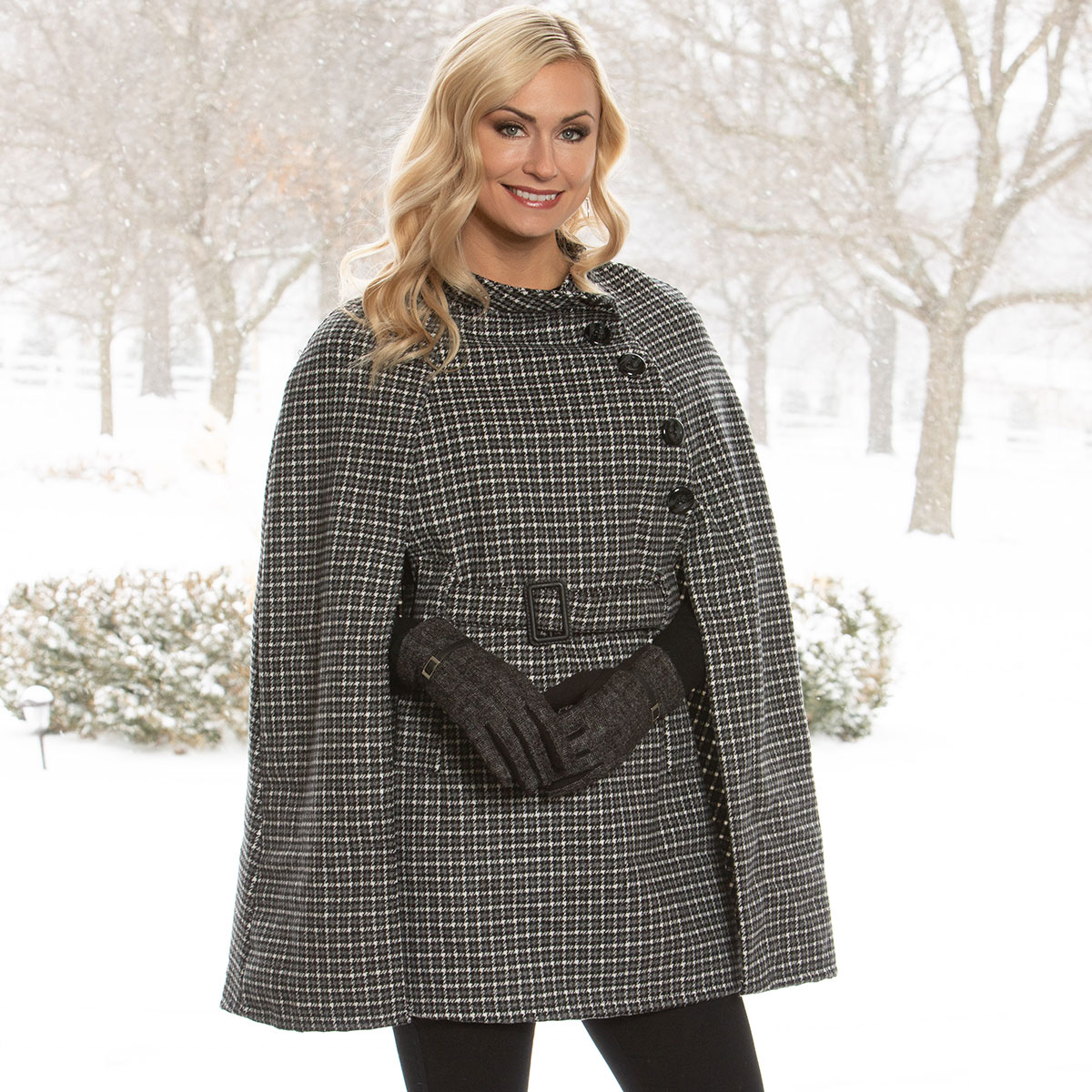 Black/White Houndstooth Coat with Belt