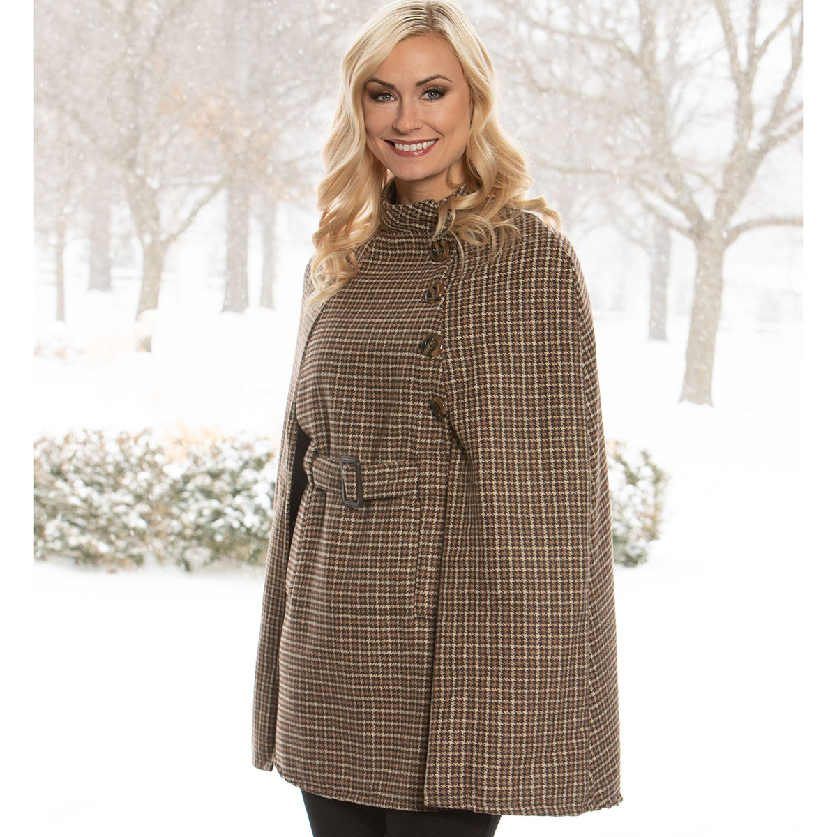 Brown/Tan Houndstooth Coat with Belt