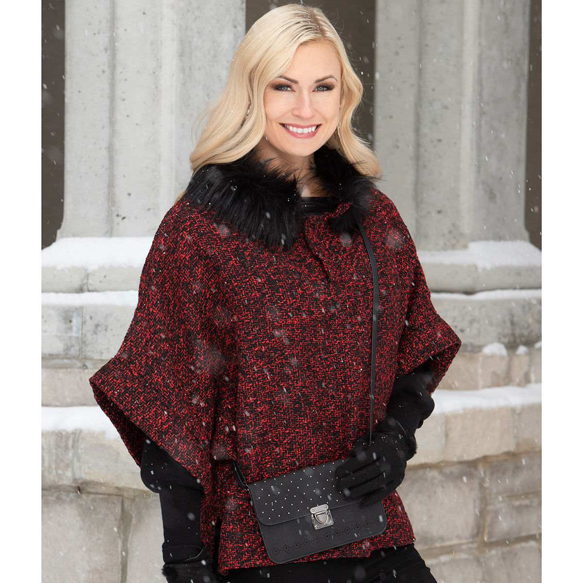Black/Red Tunic with Fur Collar and Button Closure