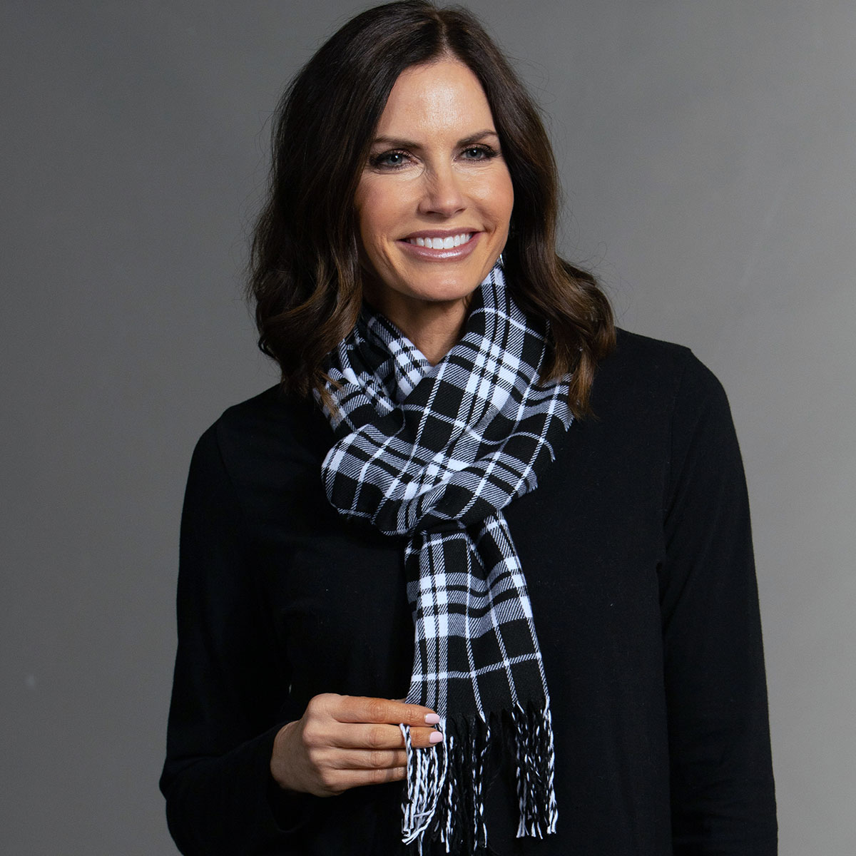 Black/White Plaid Scarf with Fringe