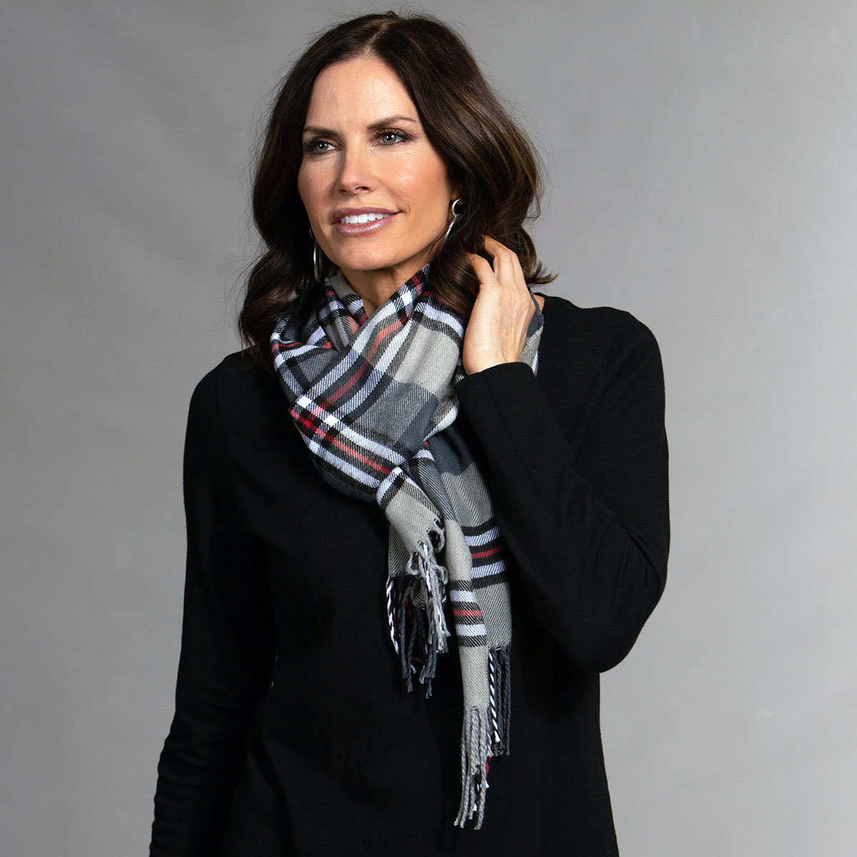 Black/White/Red Plaid Scarf with Fringe