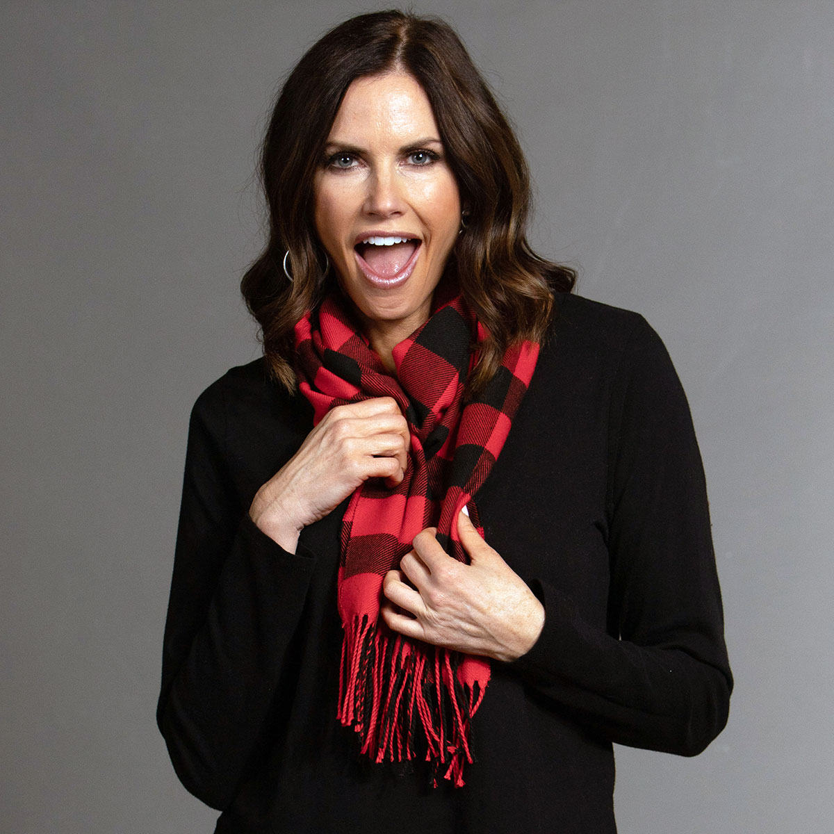 Red/Black Plaid Scarf with Fringe
