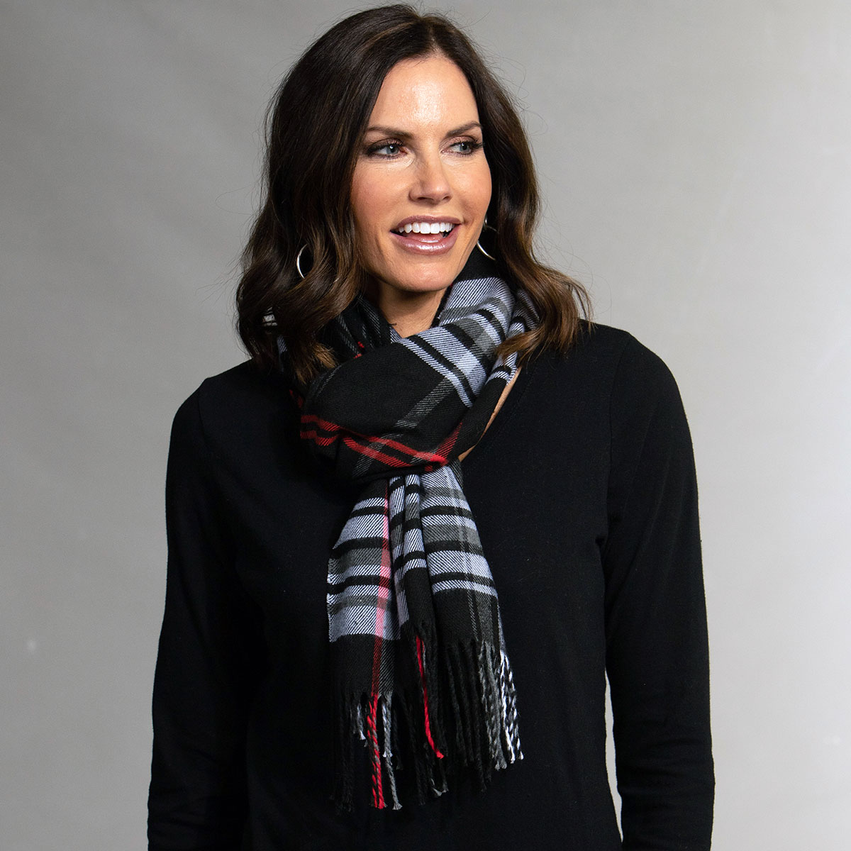 Black/Red/White Plaid Scarf with Fringe