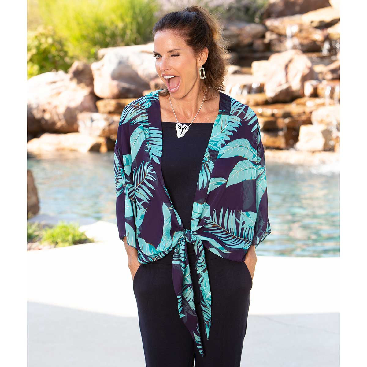 """Jacket with Teal Fronds and Tie Closure 54""""x24"""""""