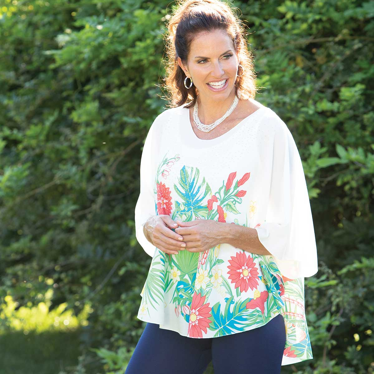 """Sparkle Tunic with Coral Floral Design 35""""x27"""""""