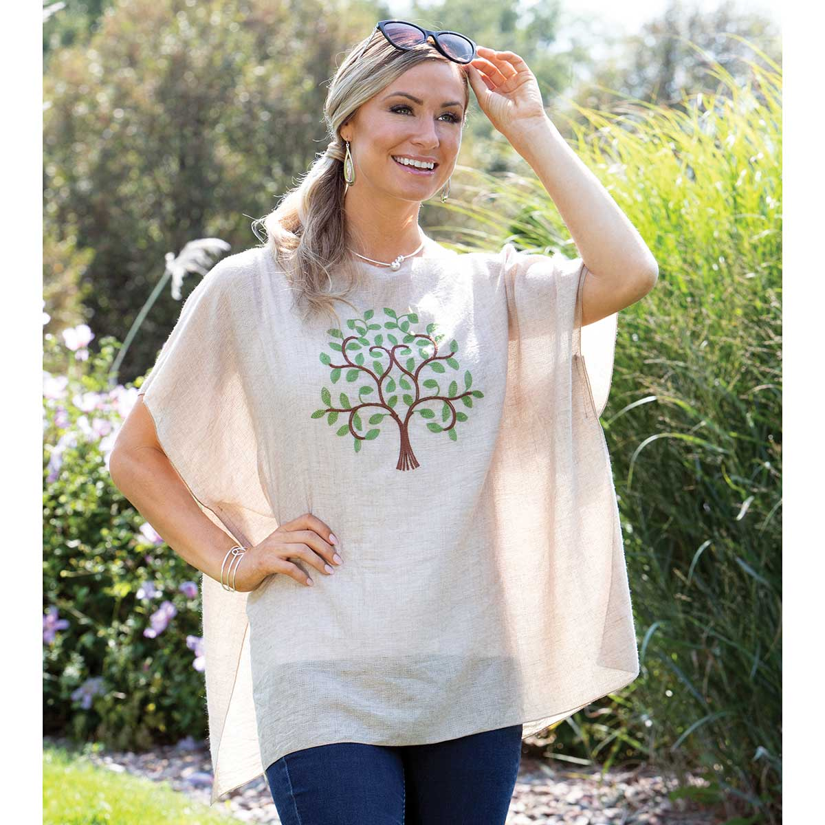 """Tunic Embroidered with Laurel Tree 33""""x29"""""""