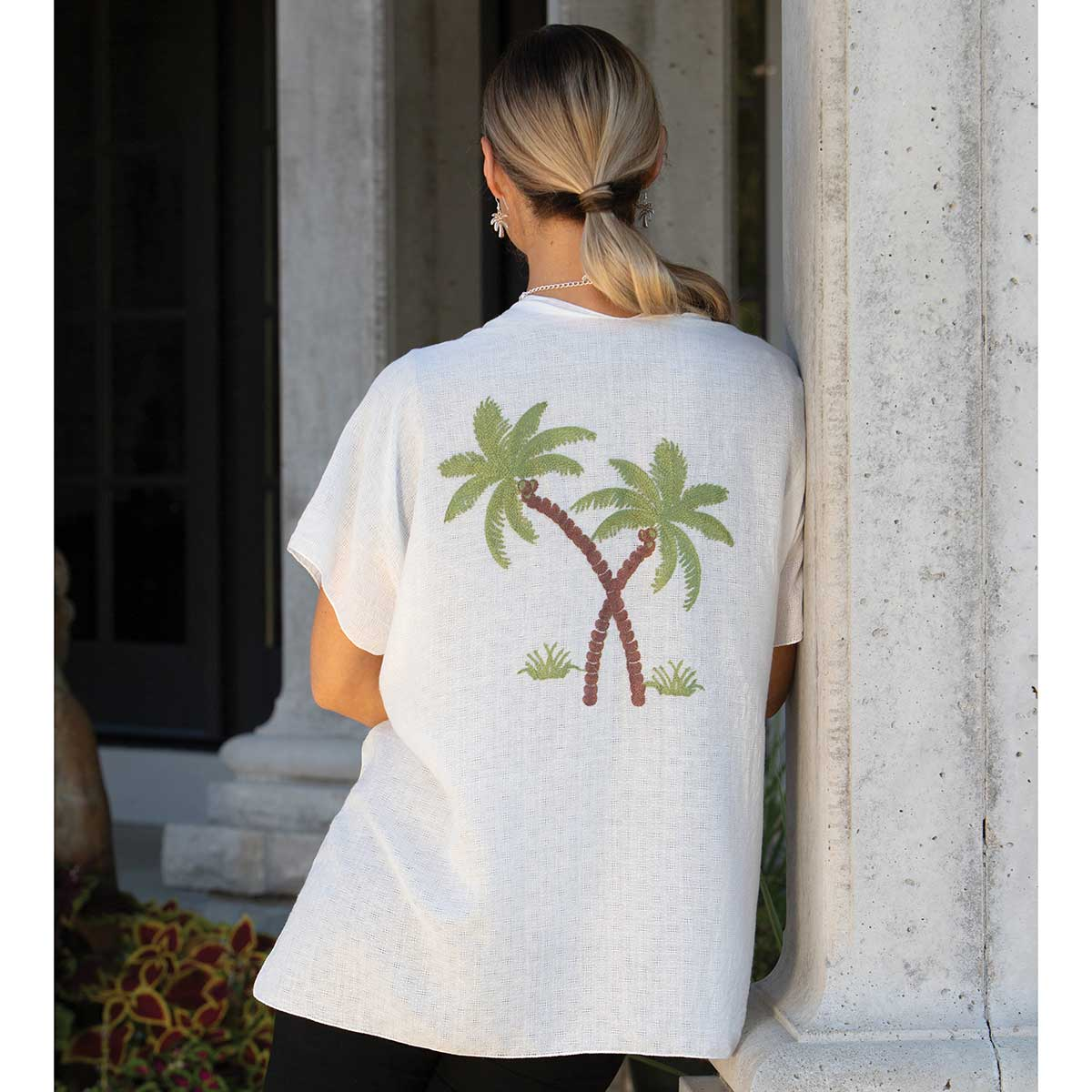 """Vest Embroidered with Palm Tree 63""""x29"""""""