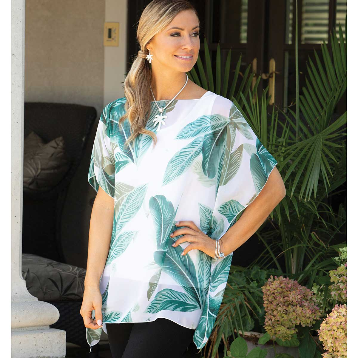 """Tunic with Green Palm Leaf Pattern 35""""x29"""""""