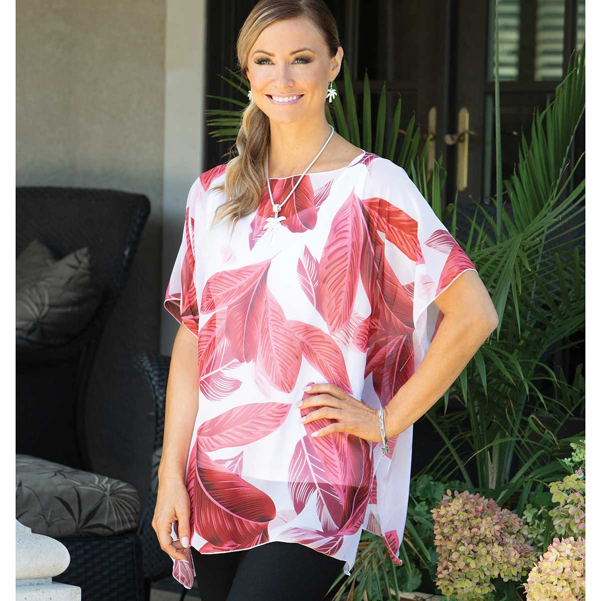 """Tunic with Red Palm Leaf Pattern 35""""x29"""""""