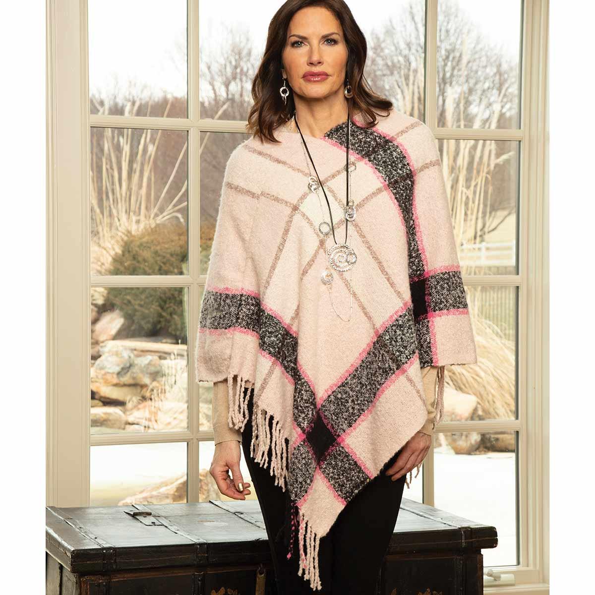Pink and Grey Stripe Knit Poncho