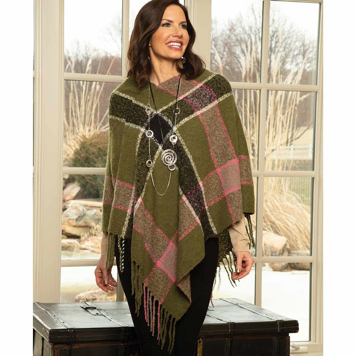 Olive and Pink Stripe Knit Poncho