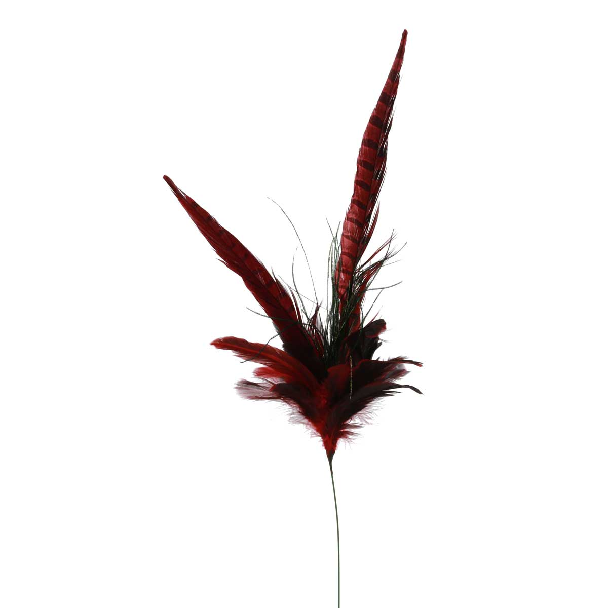 "T3160 BURGUNDY FEATHER SPRAY 32"" - EACH"