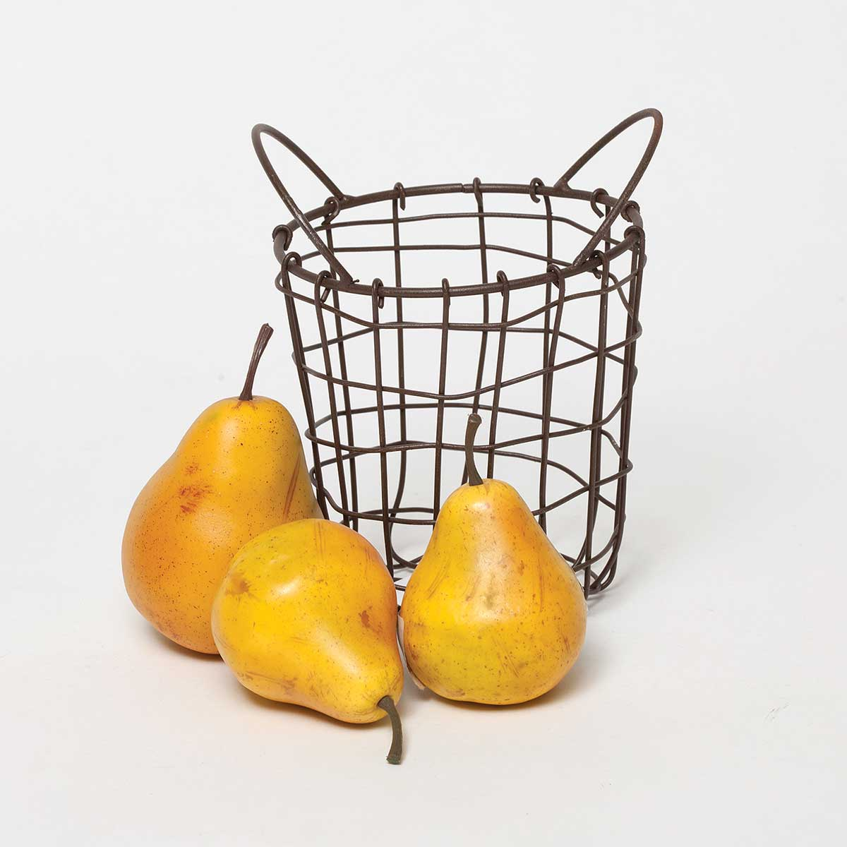 home decor wire baskets zia bella fashions fashion jewelry wire round vase with handles and yellow pears