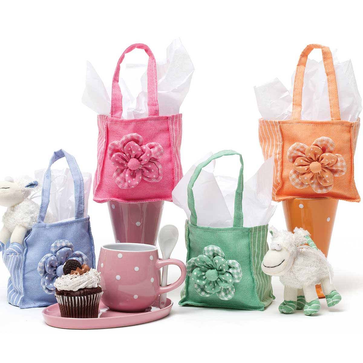 """Itty-Bitty Flower Tote 4.75�x3�x9.25"""" 4 Assorted T3401 50%"""