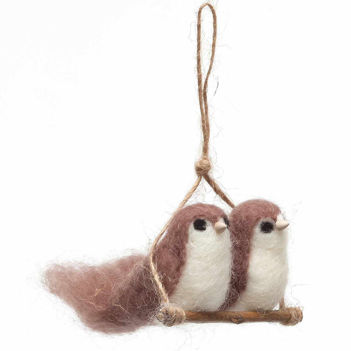 "BIRD COUPLE ON TWIG WITH HANGER 3.5""X2"" BROWN 50b"