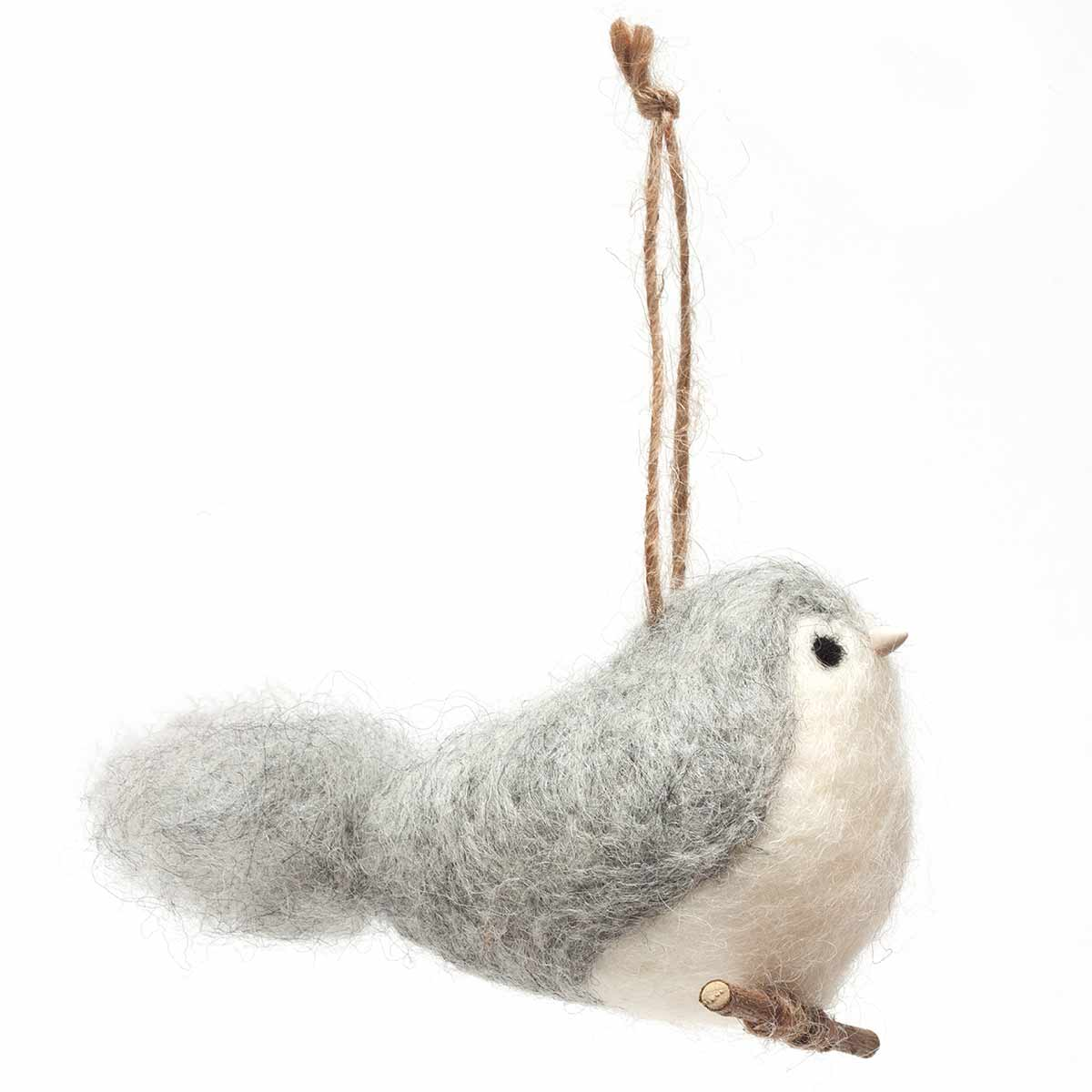 "FAT BIRD ON PERCH WITH HANGER 3.5""X3"" GRAY 50b"