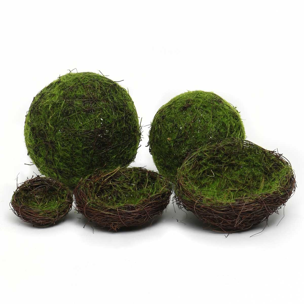 MOSS AND TWIG BALLS AND NESTS DECOR SET OF 5