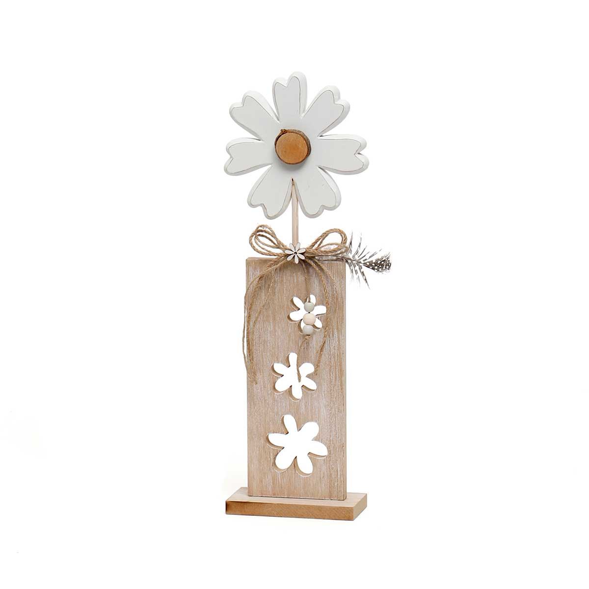 WOOD FLOWER WITH FLOWER CUTOUTS ON STAND