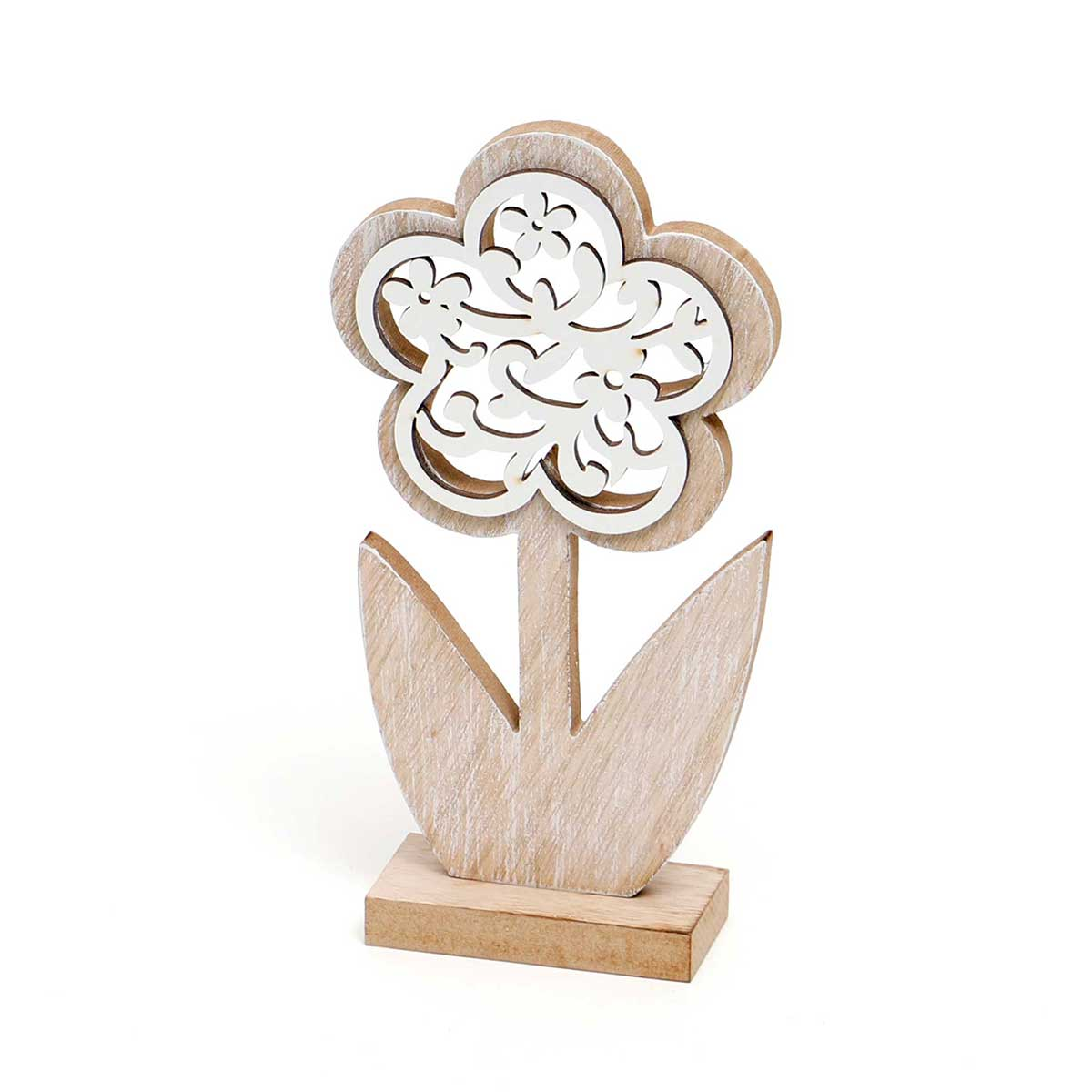WOOD FLOWER WITH CUTOUTS ON STAND
