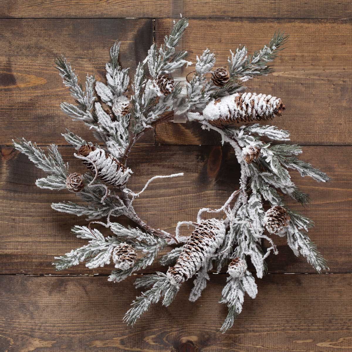 NORDIC SNOW PINE MINI WREATH 18""