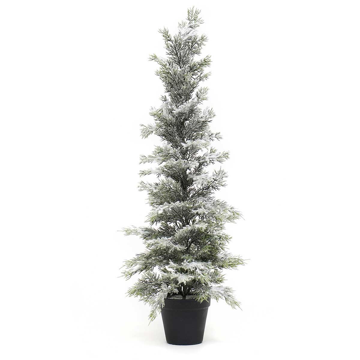 "SNOWED EVERGREEN TREE IN BLACK POT LARGE 10""X30"""