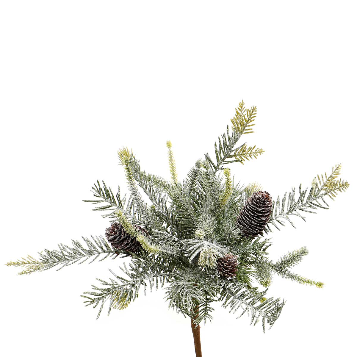 "FROSTED MIXED PINE BUSH WITH PINECONES 12""X13"""