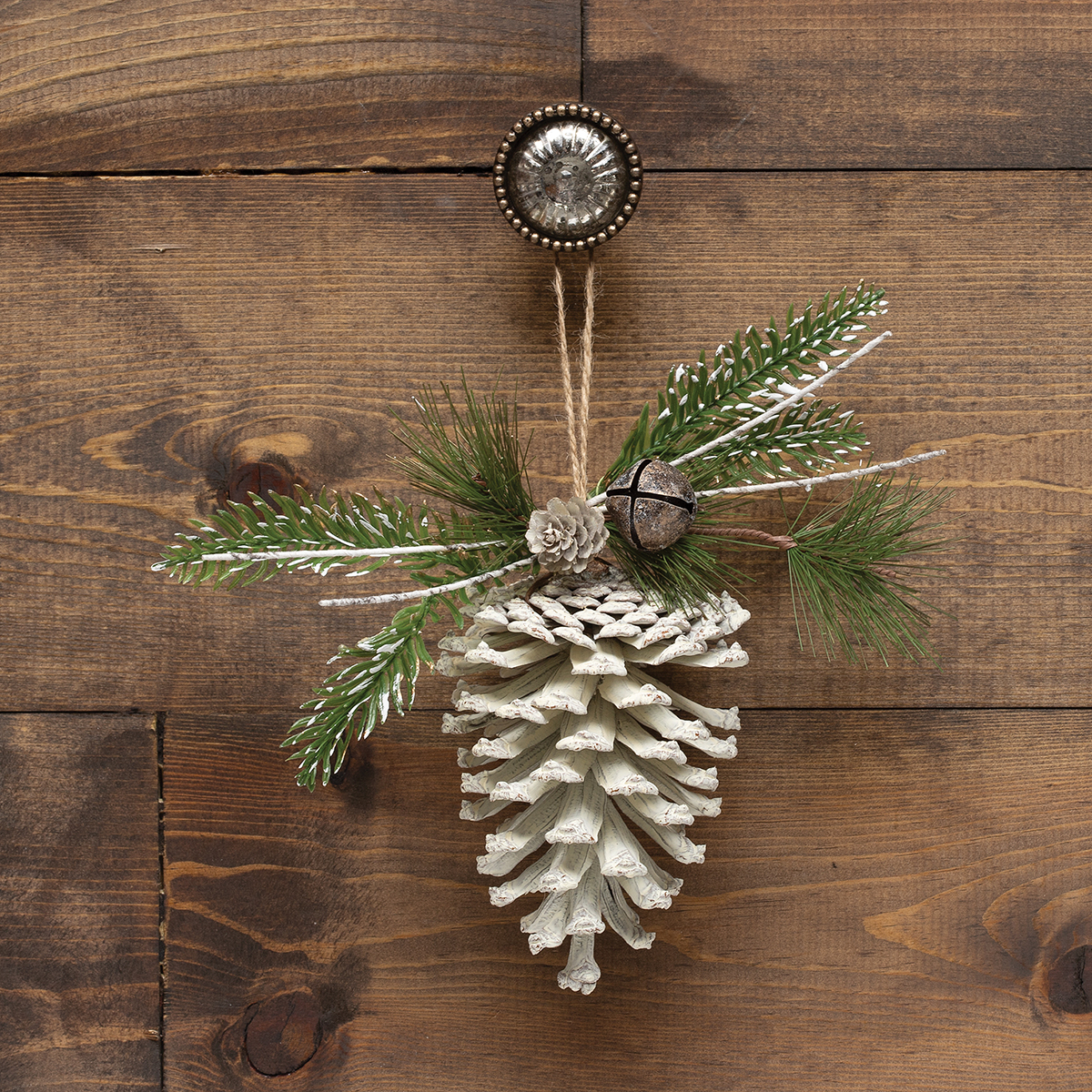 WHITE PINECONE ORNAMENT WITH BIRCH, PINE