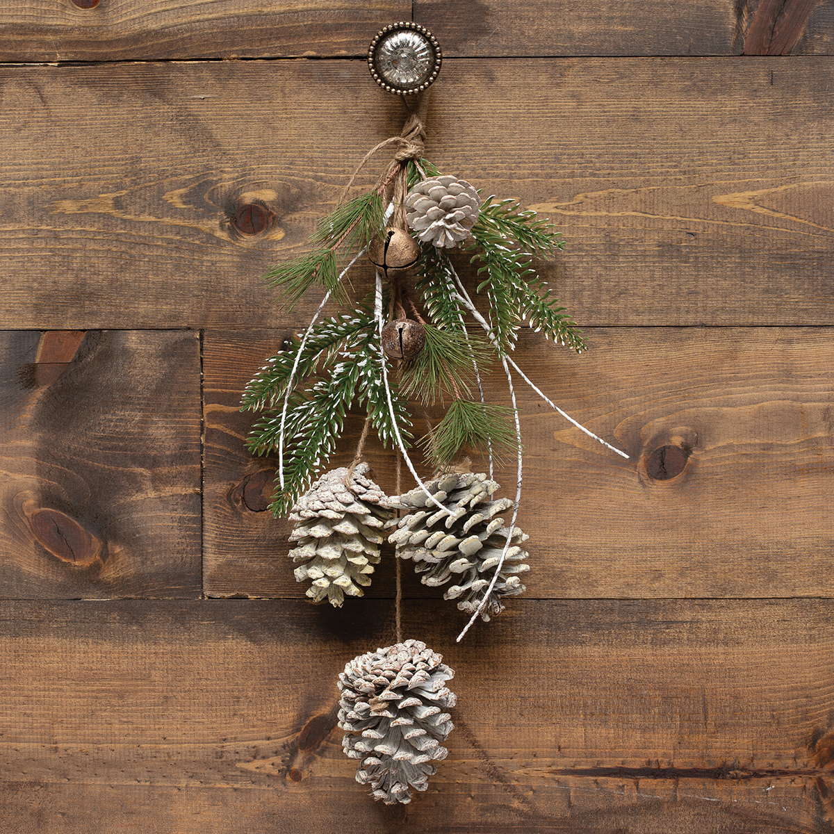 WHITE PINECONE DROP ORNAMENT