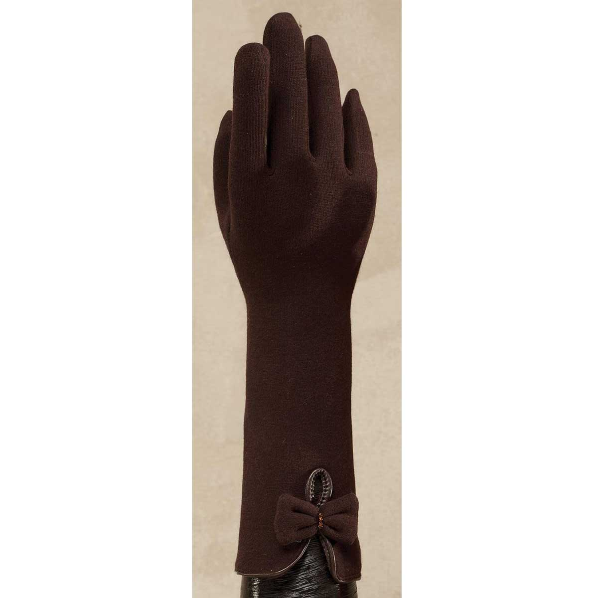 Brown Woold Blend Cape Gloves with Bow *30sp