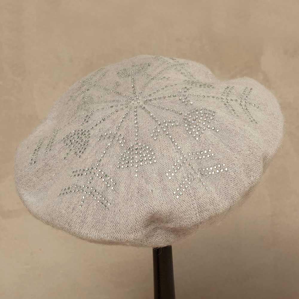 Gray Wool Blend Crystal Snowflake Beret *30sp