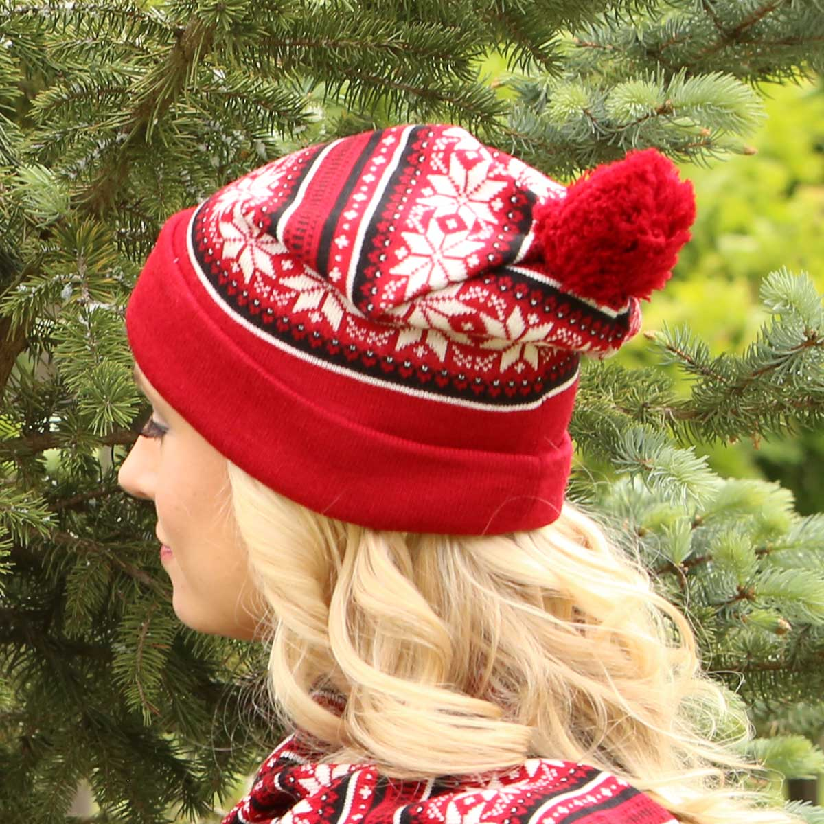 Red Petite Snowflake Knit Hat *30sp
