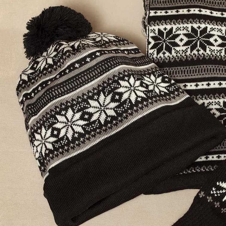 Gray Petite Snowflake Knit Hat *30sp